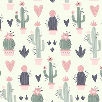 Minimalny wzór z roślinami kaktusa