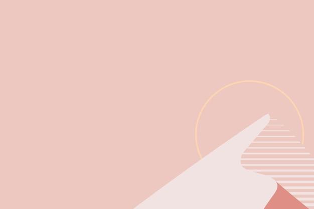 Minimalny zachód słońca góra tło pastelowy pomarańczowy