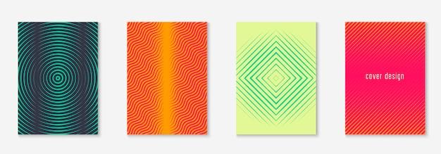 Minimalny zestaw szablonów modnych okładek. futurystyczny układ z półtonami. geometryczny minimalny szablon okładki do książki, katalogu i rocznika. minimalistyczne kolorowe gradienty. streszczenie biznes ilustracja.