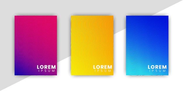 Minimalny zestaw szablonów okładki z gradientowym wzorem i liniami geometrycznymi