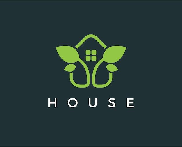 Minimalny zielony szablon logo domu