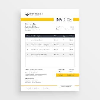 Minimalny żółty wektor szablon projektu faktury