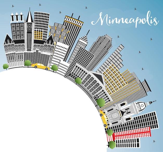 Minneapolis minnesota skyline z kolorowymi budynkami błękitne niebo i ilustracja wektorowa przestrzeni kopii