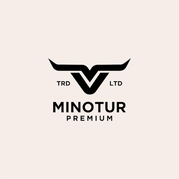 Minotaur krowa vintage logo ikona ilustracja