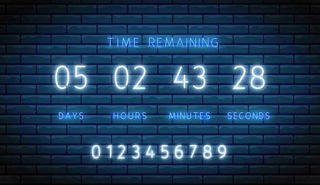 Minutnik. licznik zegara neonowego. . podświetlane cyfrowe odliczanie. pozostały czas na pokładzie. błyszczące dni, godziny, minuty i sekundy na wyświetlaczu. świecąca tablica wyników na ścianie z cegły. ilustracja led