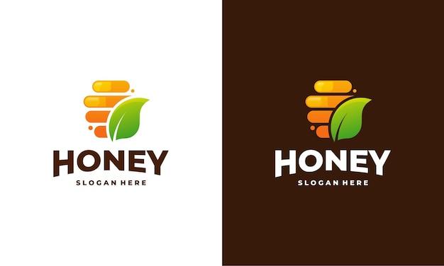 Miód grzebień logo szablon wektor, godło, koncepcja projektowania miodu, kreatywny symbol