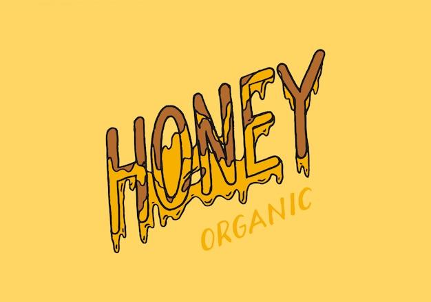 Miód i pszczoły. vintage logo dla typografii, sklepu lub szyldów.