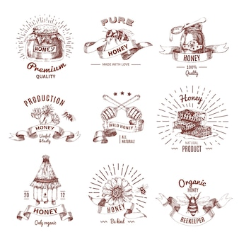 Miód ręcznie rysowane herby