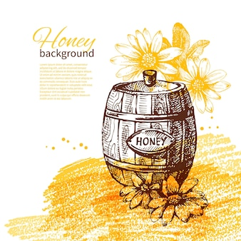 Miód tło z ręcznie rysowane szkic ilustracji