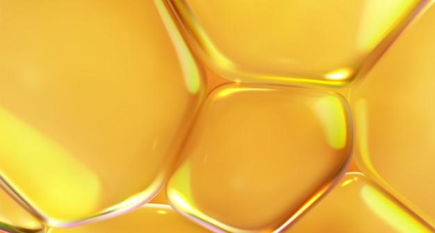 Miodowa płynna konsystencja, złota. żółte przezroczyste miękkie bąbelki. abstrakcyjne tło. 3d ilustracji.