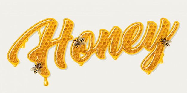 Miodowy napis z pszczołami
