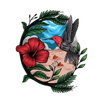 Miodowy ptak tropikalny ilustracja