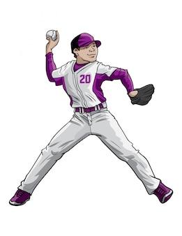 Miotacz baseballu w akcji
