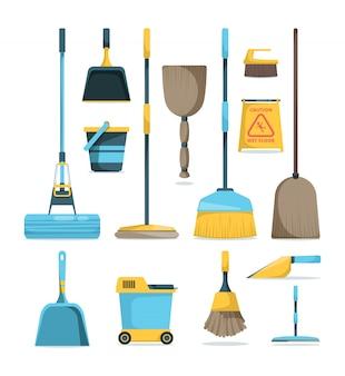 Miotła i mopy. prace domowe w pokoju higienicznym dostarczają sprzęt gospodarstwa domowego do czyszczenia rączek mioteł