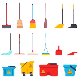 Miotła, mop, szufelka i wiadro kreskówka płaski zestaw do czyszczenia domu dostaw na białym tle na białym tle.