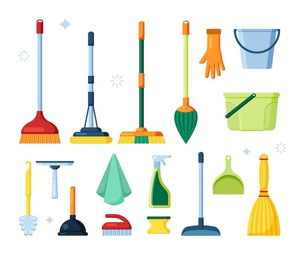 Miotły z artykułami higienicznymi do czyszczenia