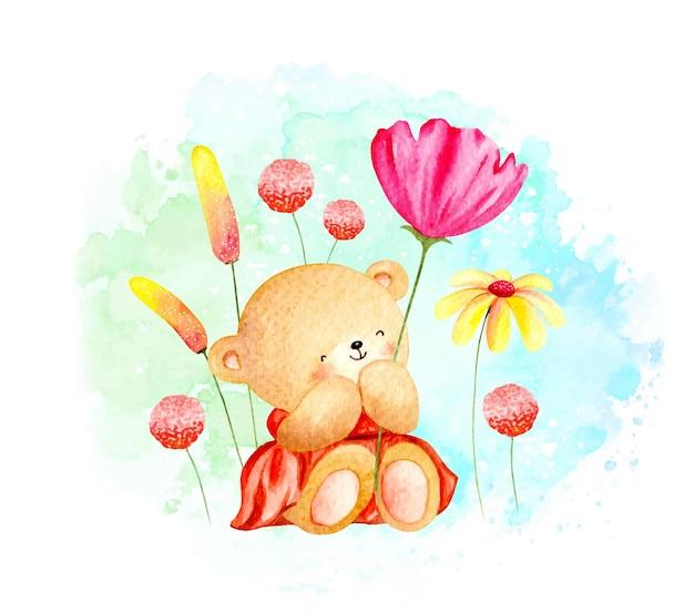 Miś akwarela wiosna z kwiatami