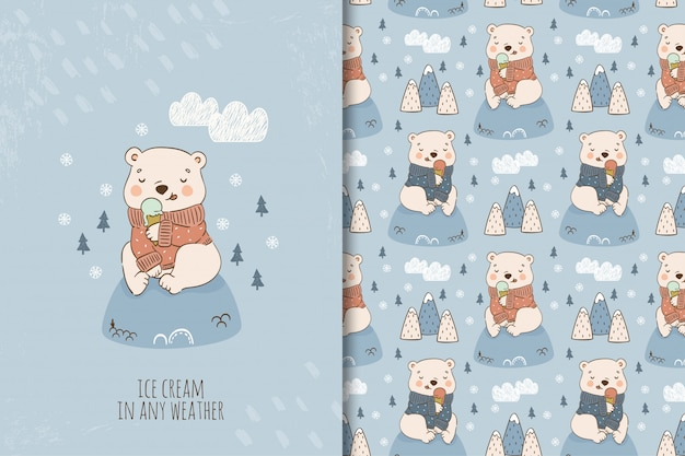Miś kreskówka jedzenie lodów w swetrze siedzi na wzgórzu. zestaw ilustracji i wzorów