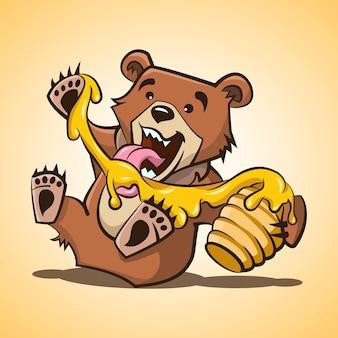Miś. mały miś zjada miód z ula. ilustracja kreskówka, druk, naklejka, plakat