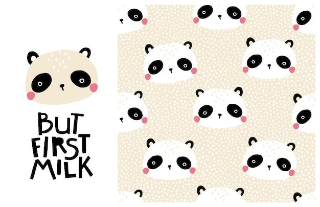 Miś panda. ale najpierw mleko. śliczna twarz zwierzęcia z napisem i wzorem. dziecinny nadruk