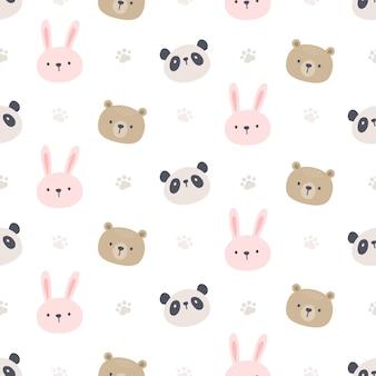Miś panda i królik bezszwowe tło wzór