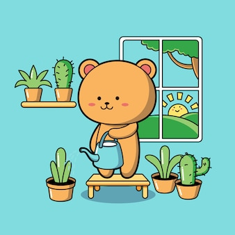 Miś podlewania roślin