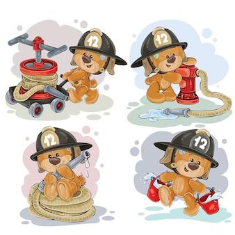 Miś strażak z sprzętem ratowniczym