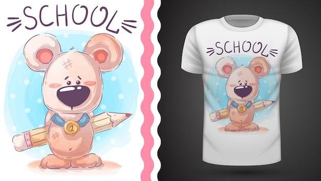 Miś z ołówkiem - pomysł na t-shirt z nadrukiem