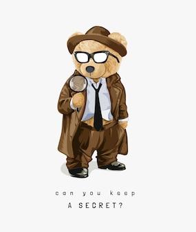 Miś zabawka w stylu detektywa
