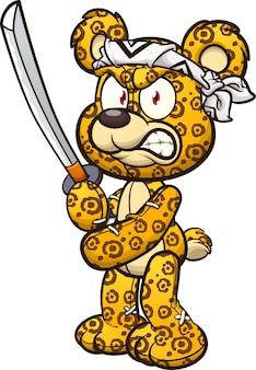 Miś ze wzorem jaguara trzymający miecz i noszący chustę