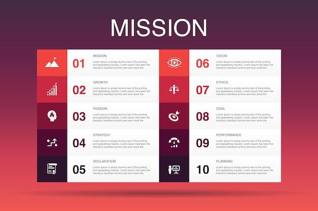 Misja infografika 10 opcji szablon.wzrost, pasja, strategia, wydajność proste ikony