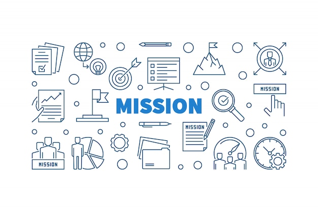 Misja konspektu niebieski zarys poziomy baner