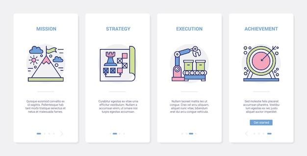 Misja lidera, ux osiągnięcia sukcesu biznesowego, zestaw ekranów strony aplikacji mobilnej wprowadzający interfejs użytkownika