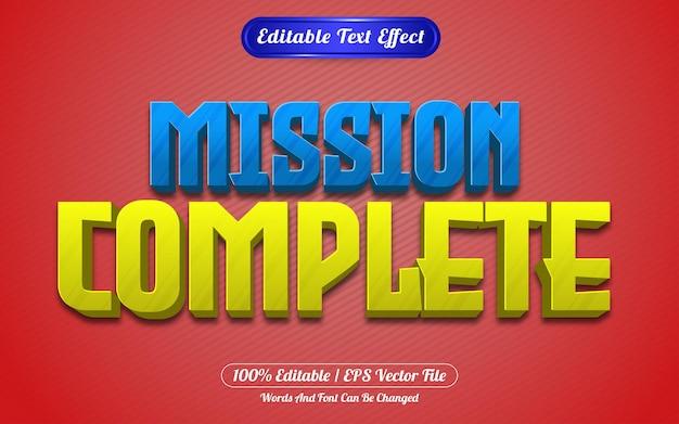 Misja pełna edytowalnego stylu gry z efektem tekstowym