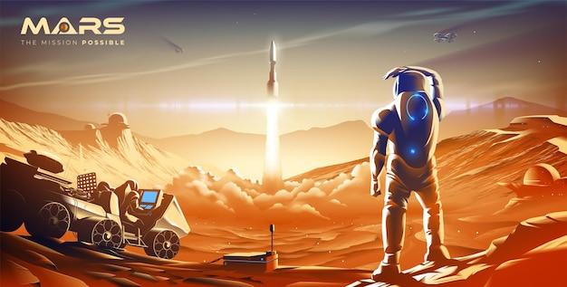 Misja rakietowa w kolonii na marsie