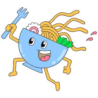 Miska makaronu ramen idzie ze szczęśliwą twarzą, ilustracja wektorowa sztuki. doodle ikona obrazu kawaii.