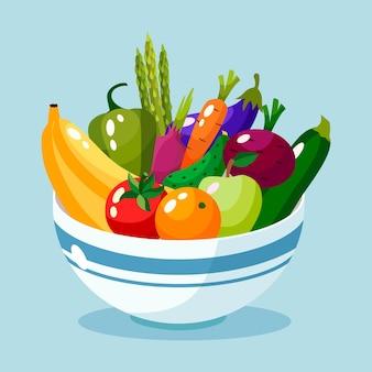 Miska pełna ilustracji warzyw i owoców.