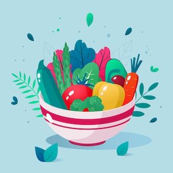 Miska pełna warzyw.