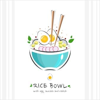 Miska ryżowa z jajkiem, awokado i rzodkiewką. zdrowe jedzenie . ilustracja z miską chopstick i szturchać