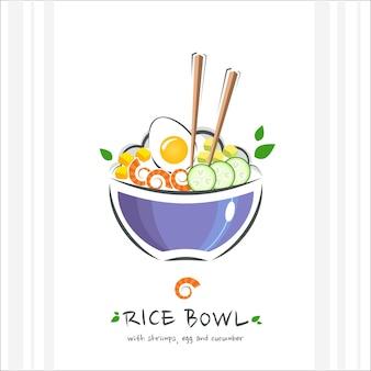 Miska ryżowa z krewetkami, jajkiem i ogórkiem. zdrowe jedzenie . ilustracja z pałeczką i poke miską z ryżem