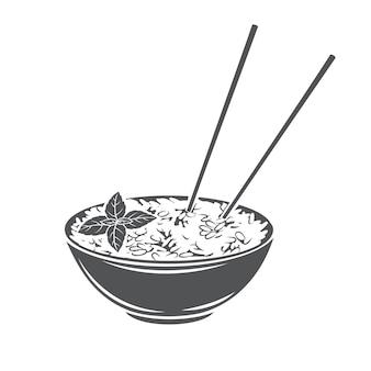 Miska ryżu z chińskimi pionowymi pałeczkami glifem monochromatycznym ikoną menu kuchni azjatyckiej.