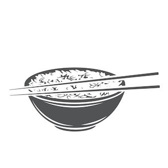 Miska ryżu z monochromatyczną ikoną glifów chińskich pałeczkami