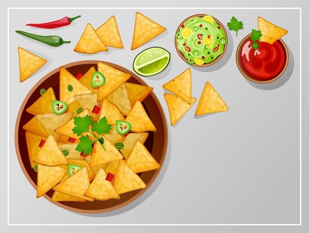 Miska z nachos salsa guacamole i sosami ranczo widok z góry tradycyjne meksykańskie jedzenie chipsy tortilla z dressingiem plasterek limonki i papryczki jalapeno ostre chili na stole ilustracja kreskówka