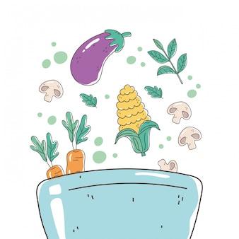 Miska zdrowej żywności z bakłażanem, marchewką kukurydzianą i dietetyczną dietetyką grzybową
