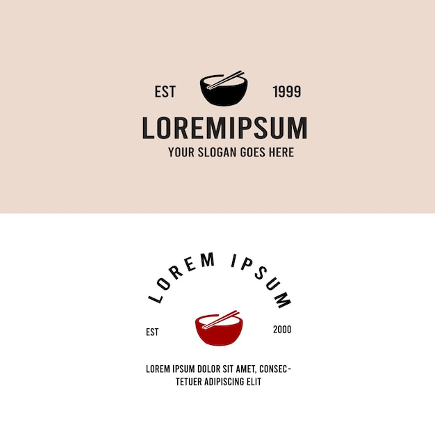Miska zupa z makaronem azjatyckie jedzenie vintage logo monoline