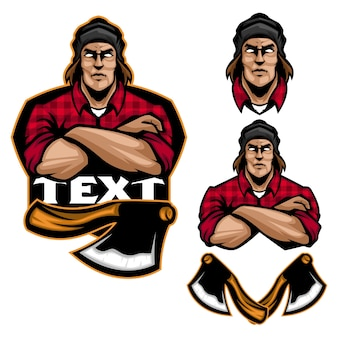 Mister lumberjack maskotka i sport logo szablon
