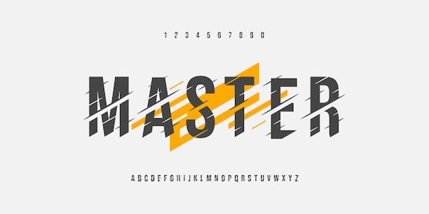 Mistrz alfabetu glitch ostre czcionki i zestaw liczb