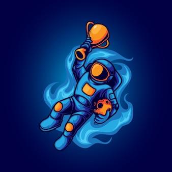Mistrz astronauta w kosmosie z ilustracją trofeum