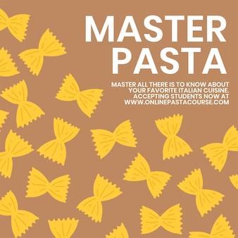 Mistrz makaronu szablon jedzenie makaron wektor ładny doodle social media post