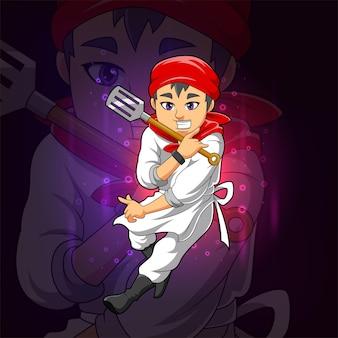 Mistrz szefa kuchni trzyma projekt logo e-sportu łopatki z ilustracji
